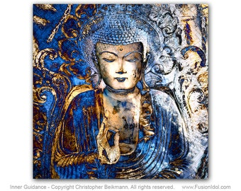 Blue Buddha Art Canvas - Inner Guidance - Zen Buddhist Meditation Art by Christopher Beikmann