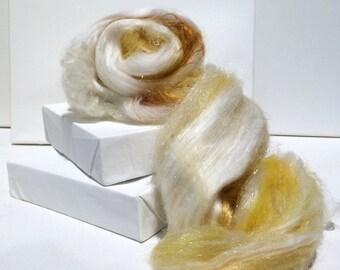 "fiber art batt, spinning fiber, Nuno / Needle felting wool, ""Gilda"" White, Gold, yellow, ecru, topaz, tan, Phat Fiber Ed. wool craft, roving"