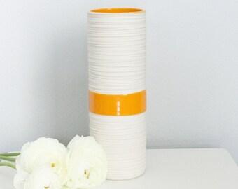 Orange Cylinder Vase - Tall Groove Cylinder Vase in Orange - Modern Porcelain Vase