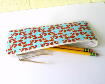 Twin Fox Pencil Case, Zipper Pouch, Cosmetic Bag, Woodland Creatures