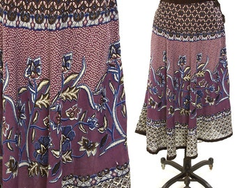 70s Indian Cotton Hippie Skirt / Vintage 1970s Bohemian Gypsy Sheer Floral Block Print Cotton Gauze Knee Length A Line Drawstring Skirt