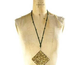 Brass Brutalist Necklace / Enormous Vintage 1980s Handmade Statement Necklace / One of a Kind Art to Wear / Brutalist / Modernist