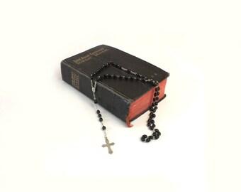 Vintage Italian Crucifix Rosary with Black Beads Catholic Icon Christian Jewelry Religious Collectible Spiritual Prayer Beads