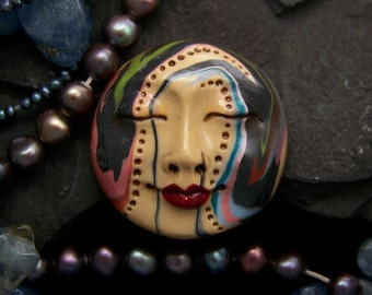 Bohemian Moon Goddess Face CAB Cabochon OOAK Dots and Swirls of Polymer Clay hand painted with love