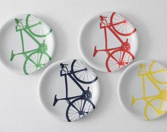 RED Bicycle Dinner Plates, Set of 4 Red