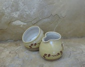 Sugar and Creamer Set - Handmade Stoneware Pottery Ceramic - Sun Yellow and White - Ginkgo - 10 ounces