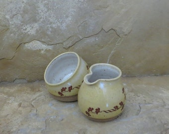 SALE - Sugar and Creamer Set - Handmade Stoneware Pottery Ceramic - Sun Yellow and White - Ginkgo - 10 ounces