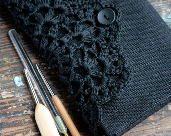 Linen Crochet Hook Case - Holder - Organizer -- black
