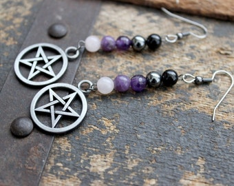 Spirit Magic Gemstone Pentacle Earrings - Witchcraft - Wicca - Elements