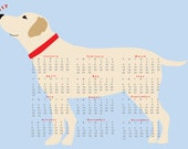 2017  Yellow Lab Dog Calendar wall calendar poster 13 x 19 inches