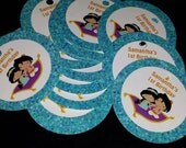 aladdin inspired, magic carpet theme personalized thank you tags, favor tags, gift tags - set of 24