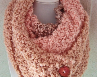 Knitted Infinity Scarf, Coral Stripes Hand Knitted Scarf
