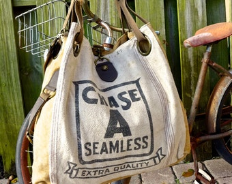 Chase A Seamless - Open Tote - Americana OOAK Canvas & Leather Tote... Selina Vaughan Studios