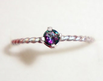 Mystic Topaz ring 3mm prong set in sterling silver ring -custom made rainbow Fair Trade, eco friendly, conflict free Holiday SALE