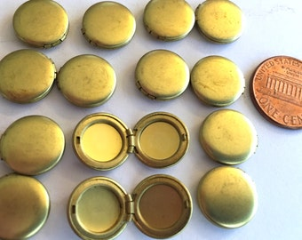 Petite lockets (12) mini locket tiny locket round No loop brass metal  DIY glue on finger rings earrings  1 dozen