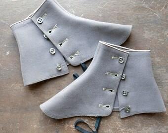 Grey Wool Short Shoe Spats