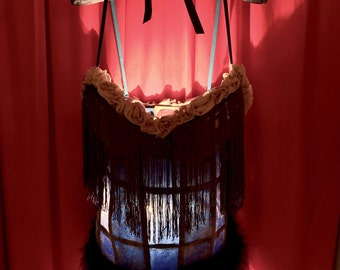 Tramp Lamp Crafted from Blue Periwinkle Bustier Girdle Corset Shaper trimmed in Extra Long Fringe and grey Toile Roses and Blue Maribou