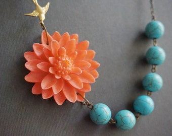 Statement Necklace,Turquoise Necklace,Coral Flower Necklace,Coral Necklace,Bridesmaid Jewelry,Bridesmaid Gift,Wedding Set,Beaded Necklace