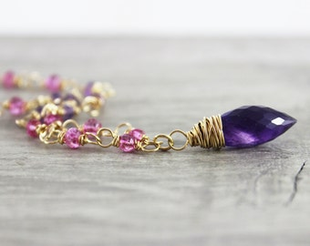 Purple Amethyst Necklace, February Birthstone Jewelry, Wire Wrap Necklace, Gold Fill Necklace, Light Pink Beaded Necklace, Dark Purple