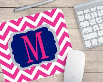 Monogram chevron mouse pad - office decor - coworker gifts - employee gift - preppy gift - cubicle decor - desk accessories