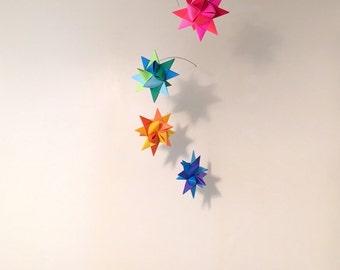 Baby Crib Mobile Origami Paper Stars -'Grus' Rainbow