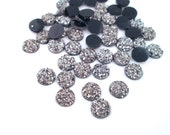 10 Dark Silver Grey 7.5mm Resin Druzy Cabochons