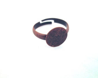 10mm blank ring bases, copper plated adjustable ring settings, A378