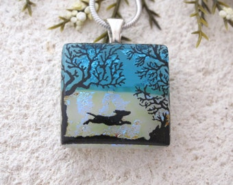 Petite Dog Necklace, Dichroic Glass Jewelry, Dichroic Glass Jewelry, Necklace Included, Dichroic Pendant, Dog Park Necklace, 102217p100