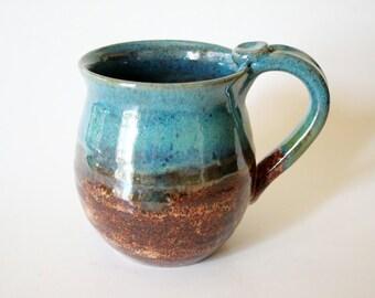 Pottery Mug - Coffee Cup - Handmade -  Cinnamon Brown and Turquoise Mug - 14 oz - Ready to Ship