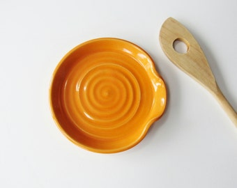 Spoon Rest - Ladle Rest - Glazed in Sunshine Orange - Ready to ship, Handmade studio pottery