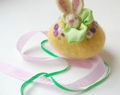 Felted Wool Easter Egg Toy: Sweet Something in 'Bloom' (Silk and Wool Surprise Easter Egg with Bunny)
