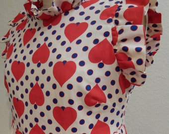 1970s Dress with Hearts, Ruffles & Polka Dots