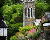 Bell Tower, Abbeystrewry, Church of Ireland, Skibbereen, Co. CORK, Wall Flowers, Irish Photo Card,Cork Souvenir, Irish Decor, Climbing Roses