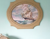 Large Upcycled Vintage Picture Frame Oval GOLD
