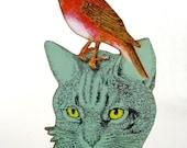 Tolerate - Bird on a Cat Head - Wood Folk Art Gift