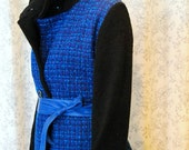 Jagerbell Jacket MEDIUM eco fashion, cobalt blue, upcycled, vintage, wool, swing coat, one of a kind, high fashion, winter, tweed, handmade