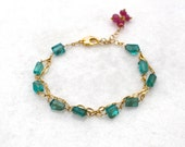 Aegean Apatite Simple Faceted Nugget Double Strand in Gold Vermeil...