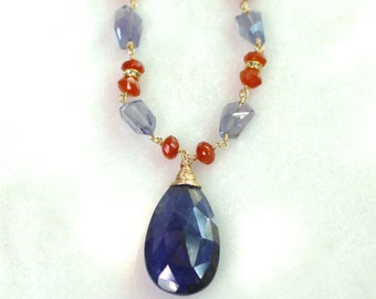 Iolite and Carnelian Linked Pendant Necklace in 22kg Vermeil....