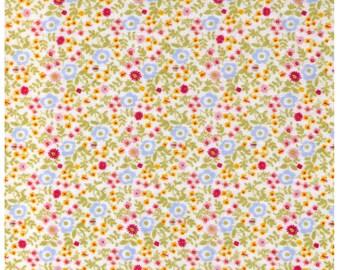 Sale (30) HALF YARD  Kokka Fabric - Mini Meadow of Flowers - BLUE Flowers on Double Gauze - B912446 - Tiny Daisies and Dots - Japanese