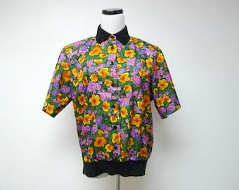FLEUR de LUNA . floral open front top /  tee shirt . size 10 . made in USA