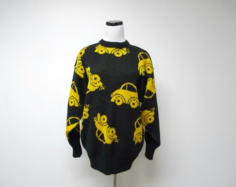BEETLES . 1980s black knitted sweater . medium