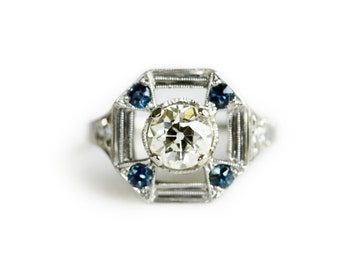 Art Deco Engagement Ring - Vintag Diamond Engagement Ring - Diamond and Sapphire Ring