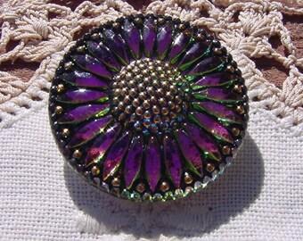 Ebony Framed Fuchsia Fire Sunflower Czech Glass Button