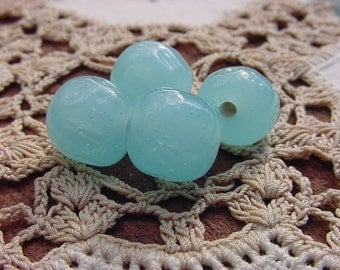 Aqua Blue Opal Dimpled Vintage Baroque Glass Beads