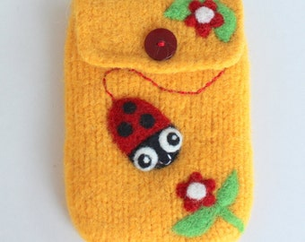 Yellow wool pouch bag purse cellphone cozy needle felted ladybug ladybird flowers