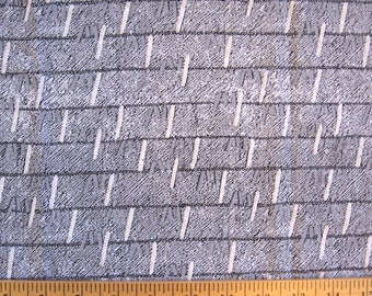 "1980's/90's puff print fabric -- cotton knit -- geometric, grid -- grey, white, black -- 58"" x 26"" remnant"