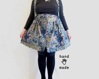 Sweet-talker Skirt -- plus size, size 28W, 4XL -- painted embellished vintage stretch denim fabric -- 80s 90s retro, jumper style -- 51W-60H