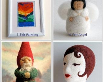 On SALE - any 3 pdf felting projects for TEN dollars - pdf Instructions: Felt Gnome, Felt Angel, Dryer Ball, Felt Painting, Felt Poupee..