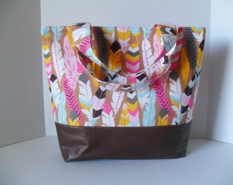 Extra Large Tote Diaper Bag - Diaper Bag - Feathers Bag - Laptop Bag - Fringe in Pink Diaper Bag -  Beach Bag - Washable - Vegan Leather