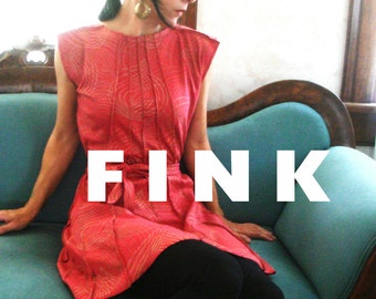 Lost in Madrid - iheartfink Handmade Hand Printed Womens Red Metallic Copper Wearable Art Jersey Tunic Mini Dress